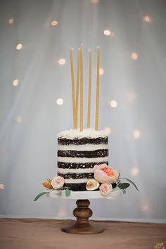 #cake, #naked-cake, #candles Photography: Sara Weir - www.saraweirphoto.com Cake: The Good Cookies - thegoodcookies.com