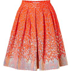 MATTHEW WILLIAMSON Sequined Brocade Skirt In Fluro Orange found on Polyvore