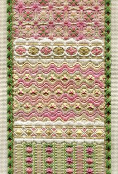 "Long Spring Panel   4.5"" x 16.25"" on 18 ct santa fe sage canvas Pattern: $16.00 (includes beads, but not buttons) - by Laura J Perin Designs"