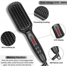 CERAMIC HAIR STRAIGHTENING BRUSH – professional care for you hair. The new generation of ceramic hair straightener brush makes your daily hair style preparing easier. Ceramic straightening brush is the best gift for women or girl. Get shiny hair with new brush straightener ceramic. HEATED STRAIGHTENING BRUSH – really straight silky hair. Heat straightening brush can handle even the thickest, waviest and kinkiest hair, manageable and straight. You can choose the heat straightener brush temperatur Ceramic Straightening Brush, Beard Straightening, Ceramic Hair Straightener, Best Hair Straightener, Hair Iron, Cool Gifts For Women, Hair Quality, Kinky Hair, Hair Gel
