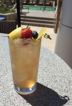 1.5 oz. bourbon .75 oz. lemon .5 oz. simple syrup .5 oz. strawberry liqueur  From Lustre Rooftop Bar in Phoenix, Arizona