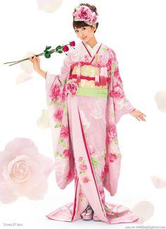 Pink, red rose flower blossom Japanese wedding kimono