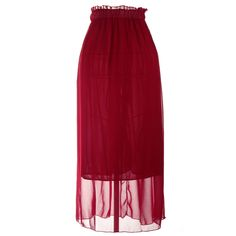 Fashion Women Ladies Maxi Skirt Dress Chiffon Pleated Long Elasticated Waist Band Burgundy