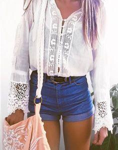 White lace blouse + denim shorts