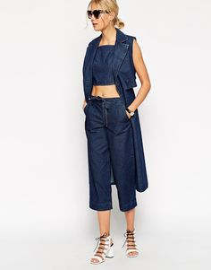 ASOS Denim Relaxed Fit Drawstring Trousers - Blue