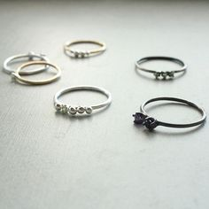 Tiny Stack Rings by Elaine B Jewelry. American Made. See the designer's work at the 2015 American Made Show, Washington DC. January 16-19, 2015. americanmadeshow.com #rings, #jewelry, #americanmade