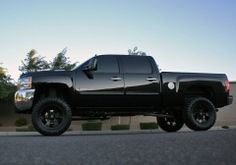 Blacked out Lifted Chevy Silverado 2500 Black Chevy Silverado, Silverado Truck, Lifted Chevy Trucks, Chevrolet Trucks, Chevrolet Silverado, Silverado 2500, Trucks And Girls, Big Trucks, Truck Rims