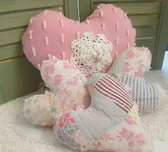 Soft Prim HEARTS from Old Quilt & Vintage Chenille - Set of 4 Valentine Ornies