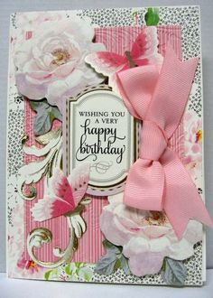 Birthday Card 2014 using Anna Griffin Garden Window card kit. By Sandi Beecher