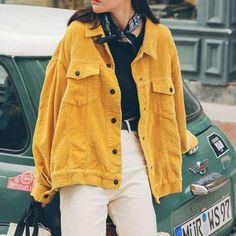 Ellacey Stylish Bomber Jacket With Pockets Cotton Corduroy Jacket Women Basic Coats Stylish Slim Fit Fashion Outerwear Yellow Blue Tumblr Outfits, Mode Outfits, Fall Outfits, Casual Outfits, Fashion Outfits, Womens Fashion, Yellow Clothes, Vetement Fashion, Corduroy Jacket