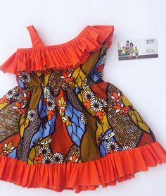 Half off-shoulder orange and African print dress for girls and toddlers – African Fashion Dresses - 2019 Trends Ankara Styles For Kids, African Dresses For Kids, African Print Dresses, Dresses Kids Girl, African Fashion Dresses, Kids Outfits, Girls, Baby Dresses, Kids Dress Wear