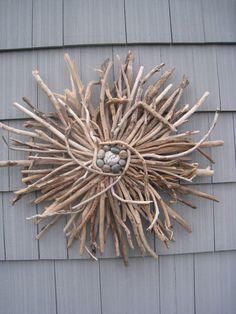 Driftwood Sunburst Wreath Wall Hanging Beach Decor Home Decor Rustic Garden Art Driftwood Sunburst Driftwood Sculpture OOAK Made to Order