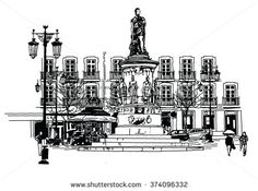 Camoes square in lisbon - vector illustration