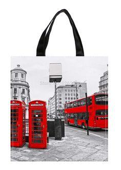 London City Retro Red bus and Telephone Boxes Print Custom individual waterproof Nylon Fabric shopping bag gift bag Pack of 2