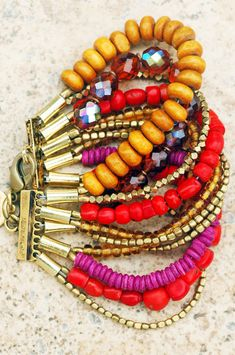 Red Coral, Amber, Magenta and Shimmer Glass Multi-Strand Bracelet Cuff