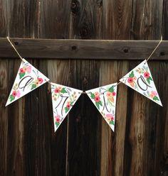 Custom Name Pennant Banner (Floral)