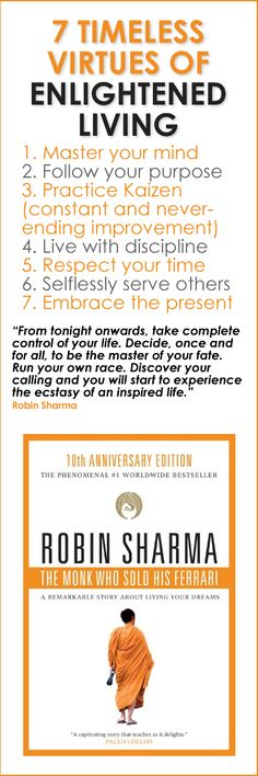 """7 Timeless Virtues of Enlightened Living - a BookOGraphic based on the book, """"The Monk Who Sold His Ferrari"""" by Robin Sharma"""