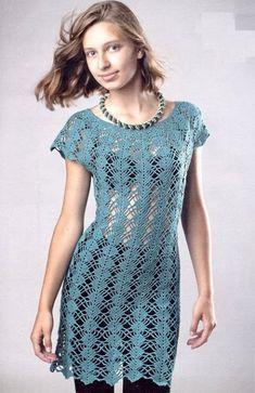 TRICO y CROCHET-madona-mía: Vestidos a crochet adulta con grafico