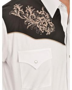 Ely Cattleman White and Black Embroidered Western Shirt