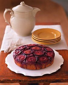 Is an upside-down cake upside down when it's baking or when it's served? In this lightly spiced version, the base -- later, the top -- combines ripe black plums and red raspberries. Inverted onto a serving dish to reveal the tender fruit, it makes a delicious case for calling this a right-side-up cake.