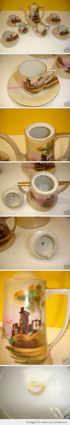 VINTAGE HANDPAINTED MADE IN JAPAN MIKORI TEA COFFEE SET PORCELAIN CUPS SAUCERS - Found on Lookza.com