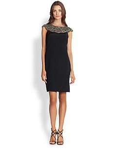 Teri Jon Silk Beaded Top Sheath