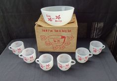 7 Piece Fire King Tom & Jerry Punch Bowl Set in Box Unused Condition #2