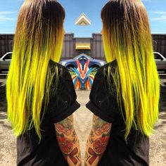 Brown to Neon Yellow Ombre - Hair Colors Ideas
