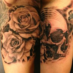 Black and Gray Rose and Skull Tattoo - Jose Perez Jr. http://tattoosflower.com/black-and-gray-rose-and-skull-tattoo-jose-perez-jr/
