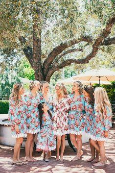 Bridesmaids with floral robes | Vintage Travel Inspired DIY Wedding - Budget Savvy Bride - Kappen Photography Bridesmaid Gifts, Bridesmaids, Diy Wedding On A Budget, Vintage Travel, Real Weddings, Bridal, Floral, Photography, Dresses