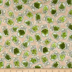 Herb Garden Labels Tan from @fabricdotcom  Designed by Angela Anderson for Quilting Treasures, this cotton print fabric is perfect for quilting, apparel and home decor accents. Colors include teal, cream, tan, green and olive.