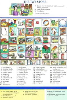 61 - THE TOY STORE - Pictures dictionary - English Study, explanations, free exercises, speaking, listening, grammar lessons, reading, writing, vocabulary, dictionary and teaching materials