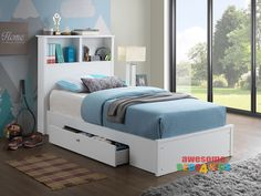 Broadbeach King Single with Under Bed Drawer is a very modern and practical bedroom solution for boys or girls. Bed includes bookcase bedhead and pull out drawer on castors. Awesome Value! White colour finish. Available King Single Only.