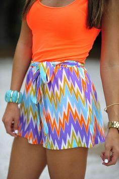 Electrify Me Chevron Shorts: Multi