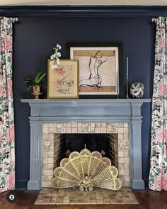 Love this original old fireplace in the bedroom of this house Old Fireplace, Bedroom Fireplace, Fireplaces, Black Chalk Paint, Trellis Wallpaper, Cozy Nook, Dark Walls, Built In Bookcase, White Tiles