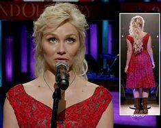 Scarlett's red lace dress on Nashville.  Outfit details: http://wornontv.net/15689/