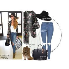 Celebrity look- Chrissy Teigen by monmondefou on Polyvore featuring polyvore fashion style Calypso St. Barth Topshop Isabel Marant Givenchy By Malene Birger STELLA McCARTNEY GetTheLook CelebrityLook Celeb CelebrityStyle ChrissyTeigen