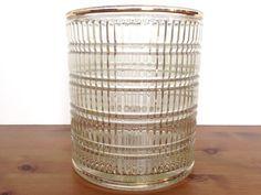 Mid century glass ice bucket ribbed pattern heavy crystal bar