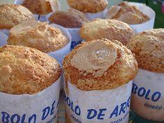 Bolos de arroz (Portuguese rice cakes)    200 g. açúcar (sugar)  100 g. farinha trigo com fermento Self rise whoile wheat flour)  100 g. de farinha de arroz (rice flour)  1 colher sopa maizena ( 1tbsp corn startch)  100 g manteiga (butter)  3 ovos (eggs)  1 dl. leite (milk)  1 colher chá fermento pó (1 tsp yeast)