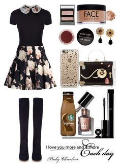 """Untitled #1050"" by pinky-chocolatte ❤ liked on Polyvore featuring RED Valentino, Charlotte Olympia, Chanel, Chicwish, Gianvito Rossi, Burberry, FACE Stockholm, Bobbi Brown Cosmetics, Dolce&Gabbana and Casetify"