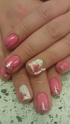 Girly, faded, Valentine's day nails
