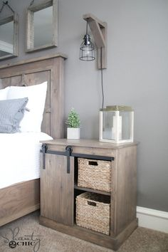 Free plans and how-to video to build this DIY Sliding Barn Door Nightstand and the $20 DIY Barn Door Hardware! Simple build at www.shanty-2-chic.com by keri