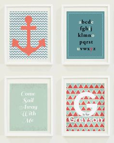 Nursery Prints : Nautical - Anchor - Sail Away - Monogram. $12.00, via Etsy.