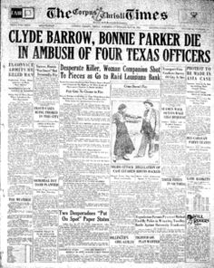 Clyde Barrow, Bonnie Parker Die in Ambush of Four Texas Officers Texas History, Us History, History Facts, American History, Bonnie Parker, Bonnie N Clyde, Newspaper Article, Old Newspaper, Newspaper Headlines