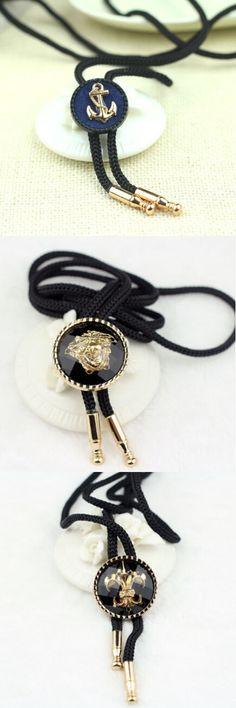 Anchor Tie Bolo Black Rope Roundness Collar Button Cravate 2015 New Arrival Man Bolo Neckties Shirt Aksesoris Anchor Tie Bolo