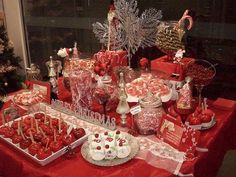 christmas-wedding-decorations-2 Have a homemade candy/treat party where guest bring their favorite. Put out on table and let people box up what they want to take home. Different take on cookie party