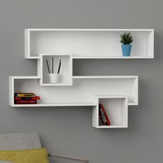 Features: Product Type: Floating Shelf Room Use: Bedroom;Dining room Number of Shelves: 4 Material: Manufactured Wood Mat Unique Wall Shelves, Wall Shelf Decor, Cube Shelves, Wall Shelves Design, Corner Shelves, Display Shelves, Floating Shelves, Wall Rack Design, Glass Wall Shelves