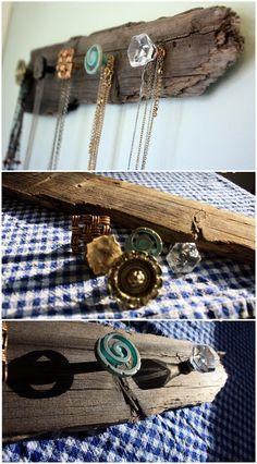 DIY Rustic Necklace Holder.