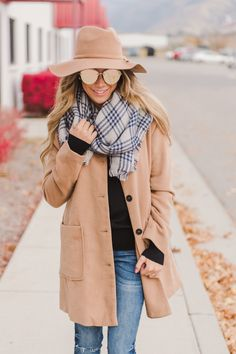 RubyClaire Boutique - Cali Raised Peacoat | Camel, $68.00 (https://www.rubyclaireboutique.com/cali-raised-peacoat-camel/) Lightweight Peacoat Camel Peacoat Peacoat Outfit Womens Peacoat