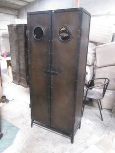 steampunk metal locker/pantry - with portholes!